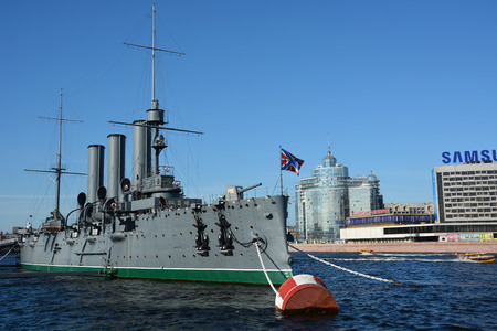 SAINT-PETERSBURG, RUSSIA, SEPTEMBER 06, 2014: Cruiser Aurora at the St. Petersburg. It is a symbol of Russian revolution 1917