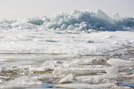 hummock: Hummock on the frozen sea shore at spring season Stock Photo