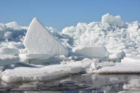 hummock: Hummock on the frozen sea shore at the spring season