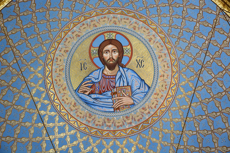 ST PETERSBURG, RUSSIA - SEPTEMBER 28, 2014: The painting on the dome of the Cathedral of the Sea Nikolsokgo. Kronstadt. photo