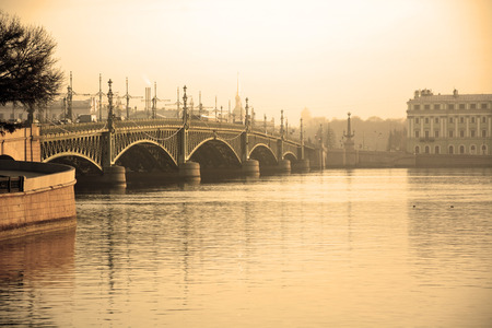 Trinity Bridge at Saint-Petersburg, Russia. Sepia toned photo