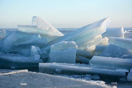 hummock: Hummock on the frozen sea shore. Sunny day Stock Photo