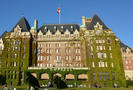 empress: VICTORIA, BC, CANADA AUGUST 23: The Fairmont Empress is one of the oldest and most famous hotels on August 23 2014 in Victoria, British Columbia