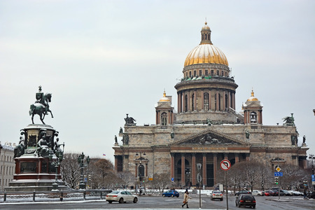 isaac: SAINT-PETERSBURG, RUSSIA- JANUARY 25: The famous St. Isaac cathedral, the symbol of Saint-Petersburg city on January 25, 2015 in Saint-Petersburg, Russia