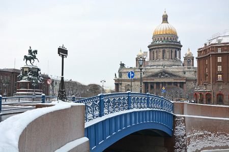 isaac: Famous Blue bridge in Saint-Petersburg and St. Isaac square