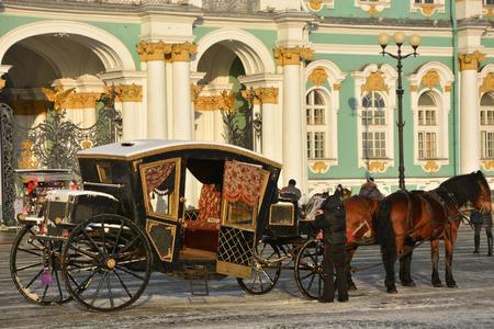 SAINT-PETERSBURG, RUSSIA- JANUARY 25: The famous Winter palace, the symbol of Saint-Petersburg city on January 25, 2015 in Saint-Petersburg, Russia