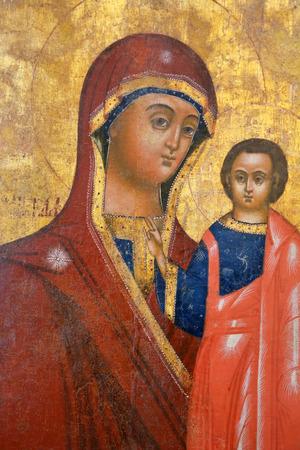 VELIKY NOVGOROD, RUSSIA - FEBRUARY 22, 2015: Antique Russian orthodox icon on February 11, 2015 in Veliky Novgorod