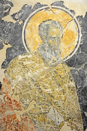 veliky: VELIKY NOVGOROD, RUSSIA - FEBRUARY 22, 2015: Antique Russian orthodox icon on February 11, 2015 in Veliky Novgorod Editorial