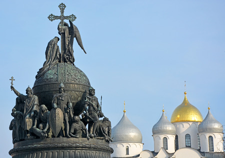 millennium: Sofia cathedral and monument for Russia millennium in Veliky Novgorod Stock Photo