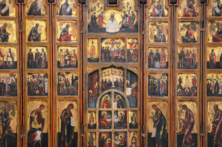 VELIKY NOVGOROD, RUSSIA - FEBRUARY 22, 2015: Antique Russian orthodox icon on February 11, 2015 in Veliky Novgorod Editorial
