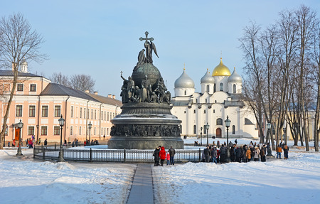 millennium: Sofia cathedral and monument for Russia millennium in Veliky Novgorod Editorial