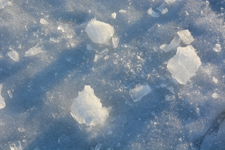 morsel: Fragmented and cracked ice at sunset as a background