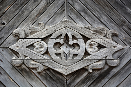 slavonic: Old Slavonic symbol on the vintage wooden house Stock Photo