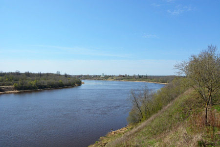 volkhov: Volkhov river valley. View from the top, spring season