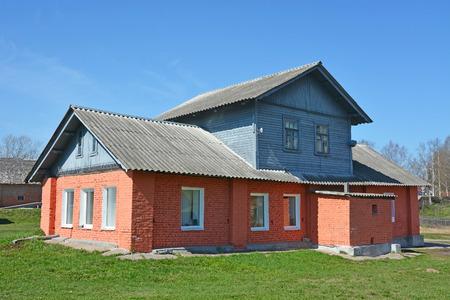 ladoga: Ancient building at Staraya Ladoga city, Russia Stock Photo