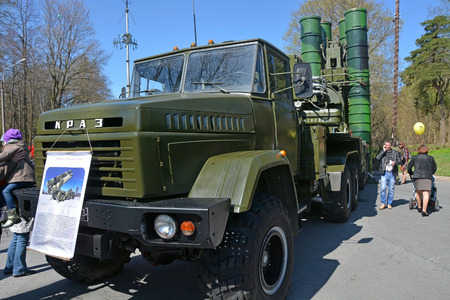 pm: SAINTPETERSBURG RUSSIA MAY 09: Launcher S 300 PM on the street at the international