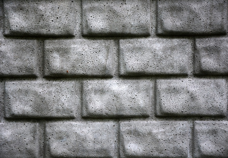 split level: Grey brick wall as a background. Closeup view