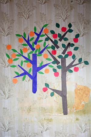 Old wallpapper- apple and orange tree from the paper on the children room