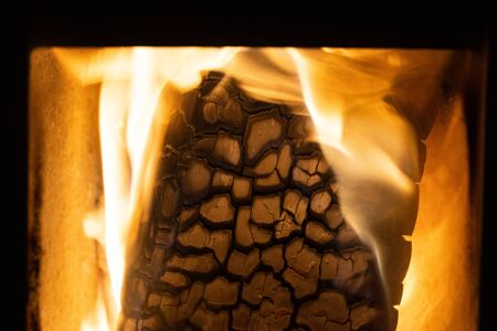 Close up of wood burning in a fire