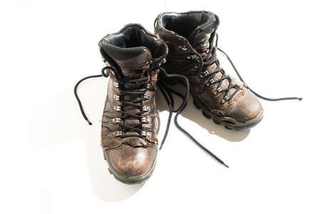 A pair of old boots for winter conditions.