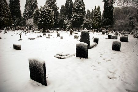 cemetry: Cardiff cathedral cemetry covered by snow, horizontally framed shot