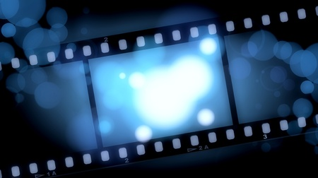movie screen: movies film blue light background Stock Photo