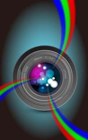 Camera lens and colorful rainbow light photo