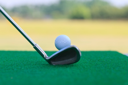 golf club and ball,low camera height photo