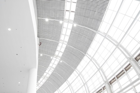hight: hight indoor glass wall with skylight Editorial