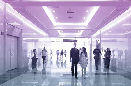 market hall: obscured walking people