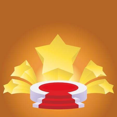 rostrum: honour succeed podium  rostrum with divergent stars background
