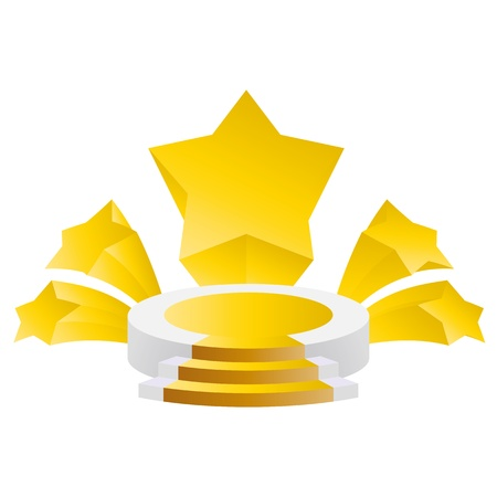 honor triunfar tribuna podio con fondo de estrellas divergentes