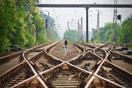 señales trafico: ferrocarril antigüedad Foto de archivo