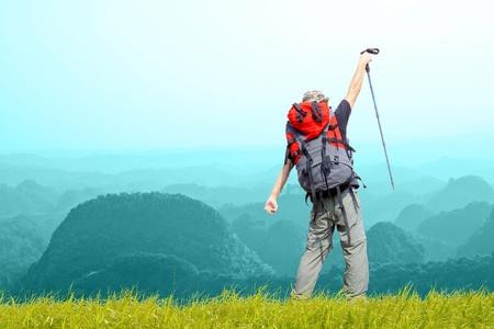 alpinist: rock Climbing on  beautiful cloud sky