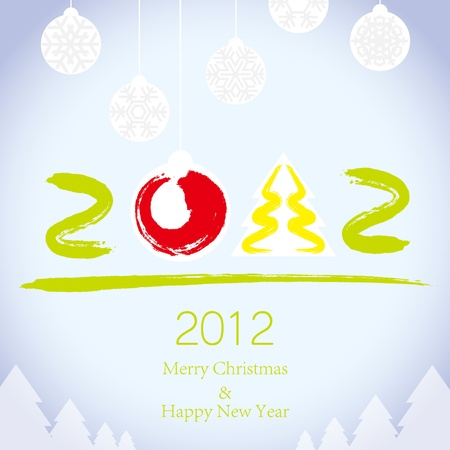 2011 Merry Christmas and 2012 Happy New Year background Vector