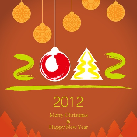 2011 Merry Christmas and 2012 Happy New Year background Illustration