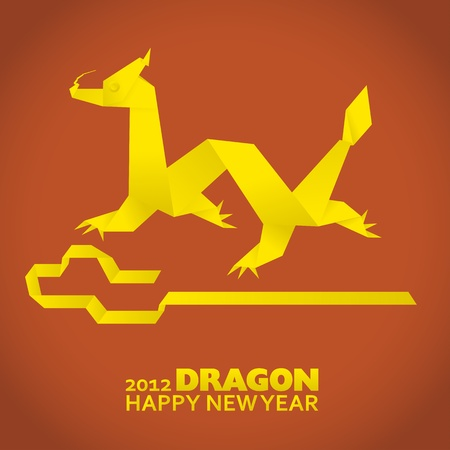 2012: New Year greeting card, year of the dragon Vector