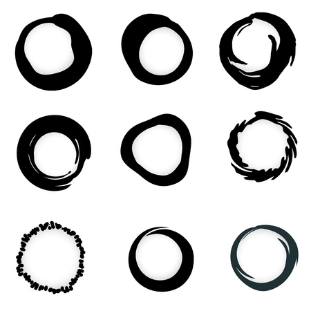 Vector grunge ink brush Circle border sets Stock Vector - 11177319