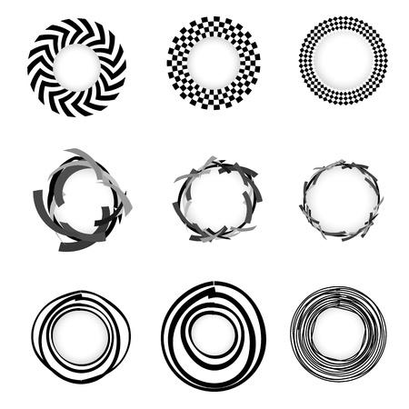 Vector grunge geometric Circle border sets Vector