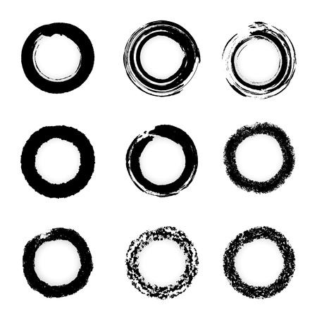 Vektor grunge bläck pensel cirkel gräns uppsättningar