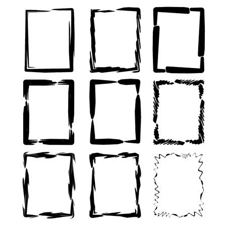 Vector grunge ink brush square border sets