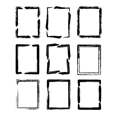 Vector grunge ink brush square border sets Vector