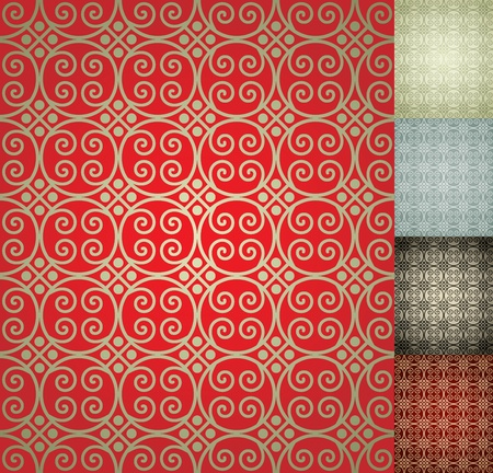 Chinese Seamless Damask wallpaper background Vector