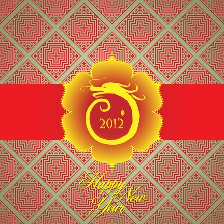 Chinese New Year greeting card background: happly new year of dragon Vector