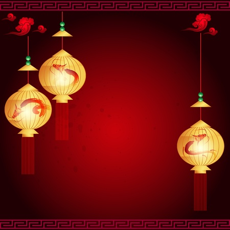traditional of Chinese Mid Autumn Festival or Lantern Festival with space for text or image Vector