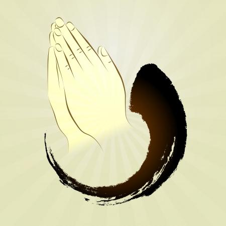 vektor: Be händer, namaste, zen gest, bön, satte händerna i salut, satte handflatorna ihop