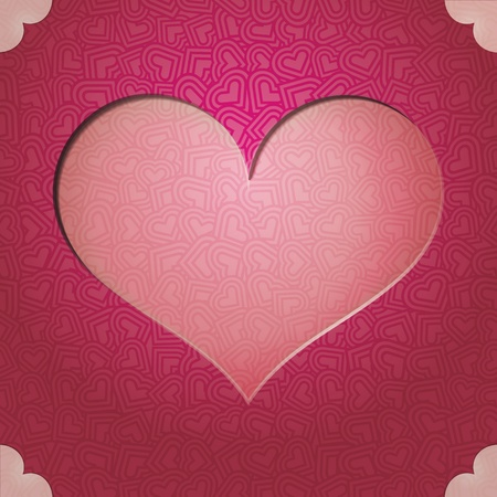 heart frame. Gift card. Valentine Day background.space for text or image  Vector