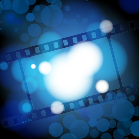 old film: vector: movies film blue light background with space for text or image