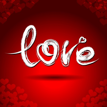 Vector freehand letters 'love'  text doodles on red heart shape pattern background Vector
