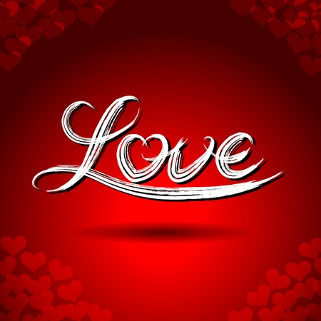 love symbol: Vector freehand letters love text doodles on red heart shape pattern background